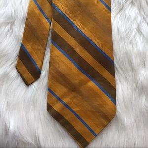 Wembley Vintage Striped Tie Gold Orange Blue